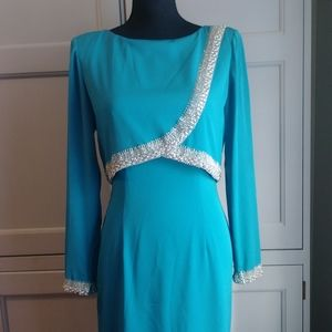 Vintage 90s Beaded Long Sleeve Party Dress